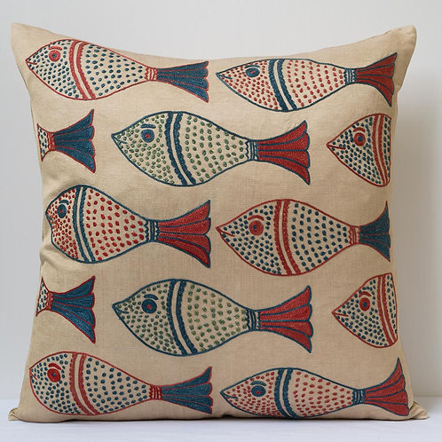 """(A1) Approx. 50cm/ 20"""" square cushion - silk hand embroidered fish motifs"""