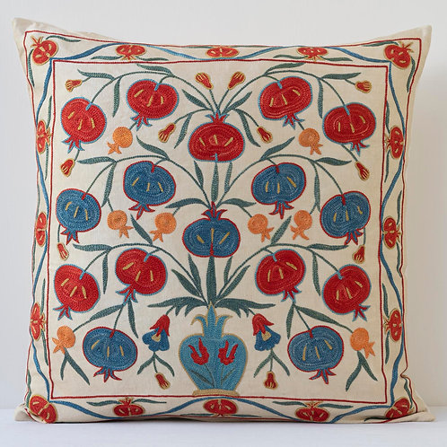 "Approx. 50cm/ 20"" square cushion - silk hand embroidered Ottoman pomegranates"