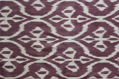 Augbergine cream flower motif ikat