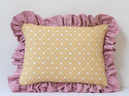 Rectangular cushion in Persian Yellow Grenadine and Rose Pink Imani frill