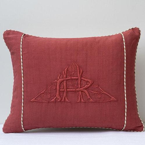 """Monogrammed """"HR"""" antique hand dyed linen /Pierre Frey cushion"""