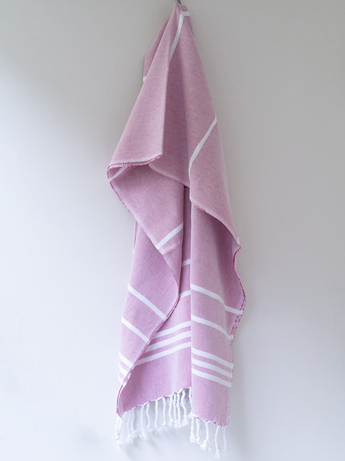 Large hand woven rose pink/white cotton hammam towel