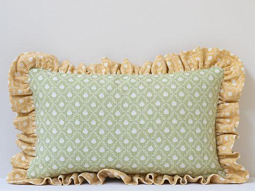 Rectangular cushion in Apple Green Grenadine and Persian Yellow Grenadine frill