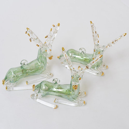 Set of 3 green/ gold reindeer Christmas baubles