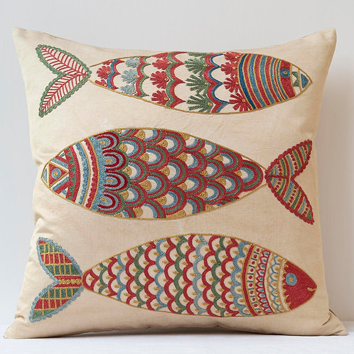"""(C2) Approx. 50cm/ 20"""" square cushion - silk hand embroidered fish m"""