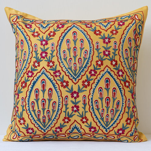 """Approx. 50cm/ 20"""" square yellow cushion - silk hand embroidered Ottoman motifs"""
