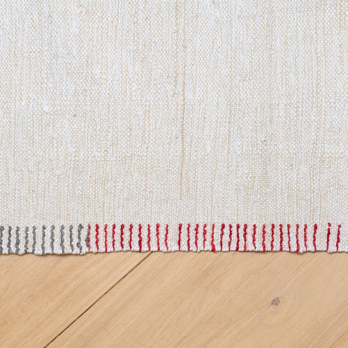 Natural wool/cotton hand woven kilim with various-coloured blanket stitching