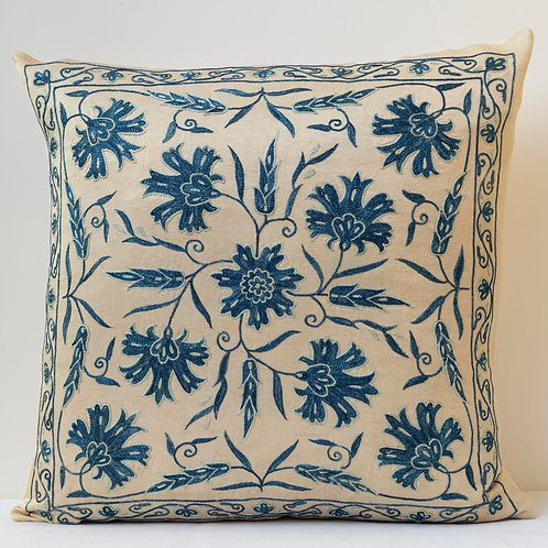 "Approx. 50cm/ 20"" square cushion - silk hand embroidered"