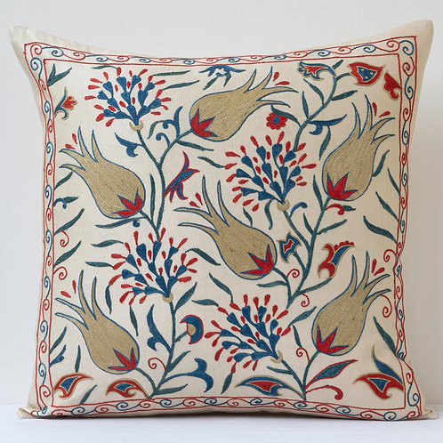 "Approx. 50cm/ 20"" square cushion - silk hand embroidered Ottoman tulip m"