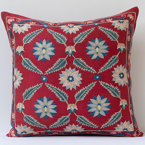 """50cm/ 20"""" red square cushion - silk hand embroidered red blue lattic"""