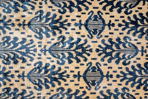 Blue cream hand woven pure silk velvet