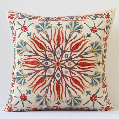 "J18 Approx. 50cm/ 20"" square cushion - silk hand embroidered Ottoman mot"