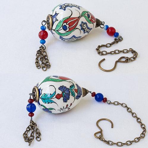Set of 2 hanging hand painted ceramic votive eggs set. 3