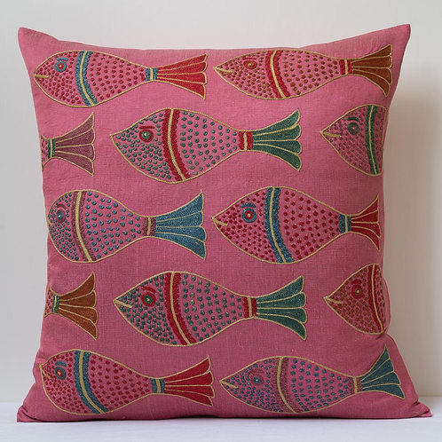 """(H) Approx. 50cm/ 20"""" pink square cushion - silk hand embroidered fish m"""