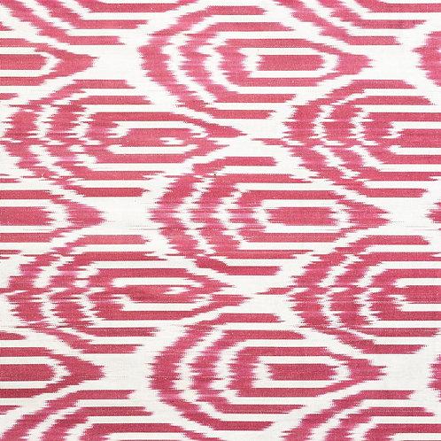 Ruby red cream Art Deco ikat