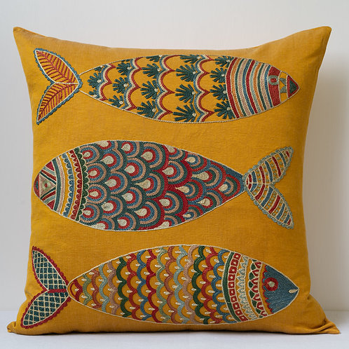 "Approx. 50cm/ 20"" square cushion - silk hand embroidered fish motifs 13"