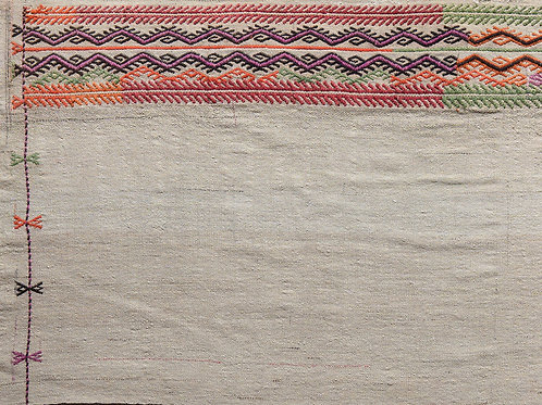 Long hand woven and embroidered wool panel