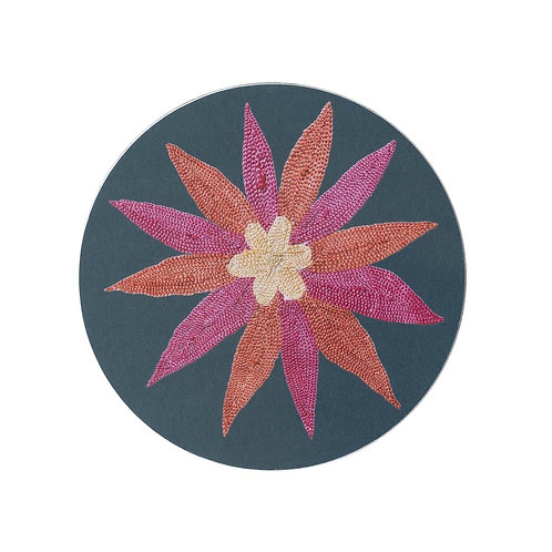 6 Daisy and garland coasters in dark green (price is for the set)