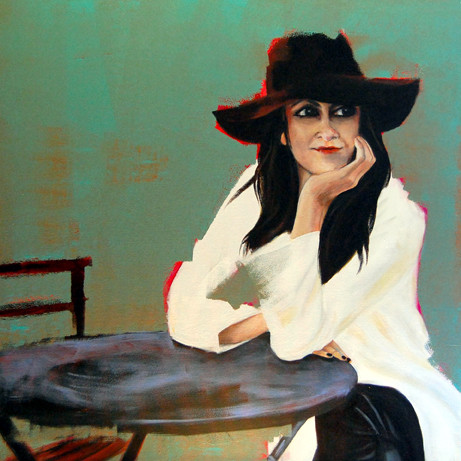 image of 1st Place Oil/Acrylics - Woman at the Table by Charlotte Moe
