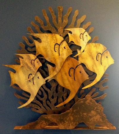 Coral and Fish bas relief by Greg Lewis