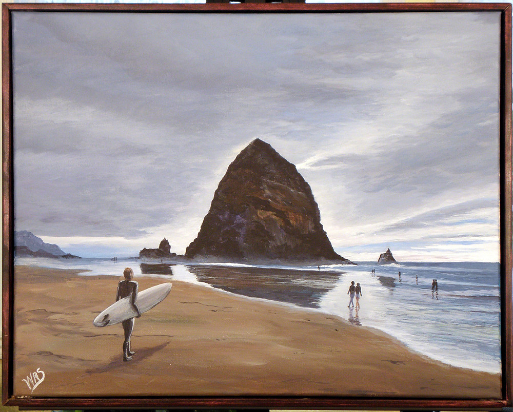 image of Honorable Mention Oil/Acrylic - Haystack Rock by Walter Sanders