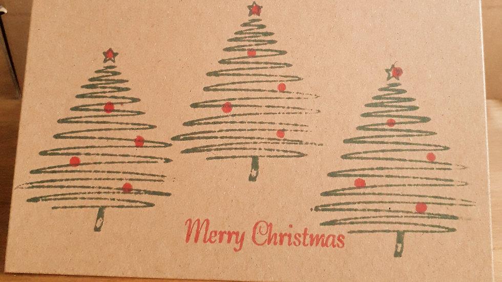 Hand-made Christmas Card Pack X5 - Christmas Tree