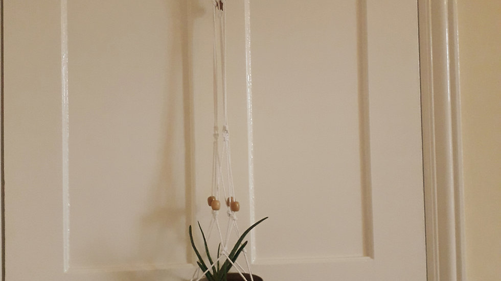 Hand-Made Macrame Plant Holder - Large White with Wooden Beads