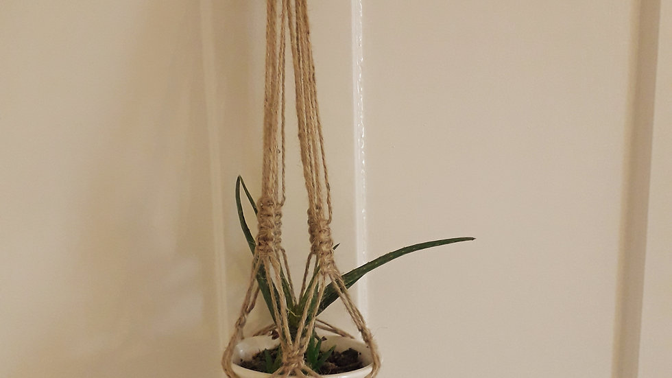 Hand-Made Macrame Plant holder - Small Twine