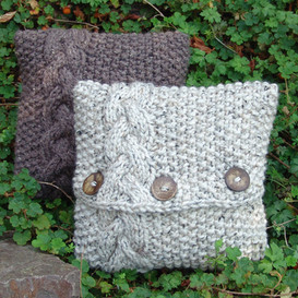 Chunky Cable Knit Pillow Cover; Celtic Inspired Seed 12 x12 inch