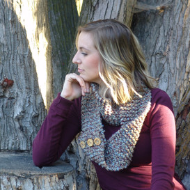 Button Infinity Scarf in Driftwood