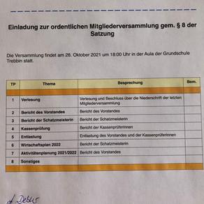 Förderverein: Mitgliederversammlung 28.10.2021