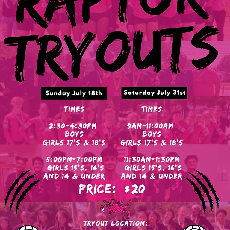 Raptor Tryout #1 Boys, Girls 17's & 18's