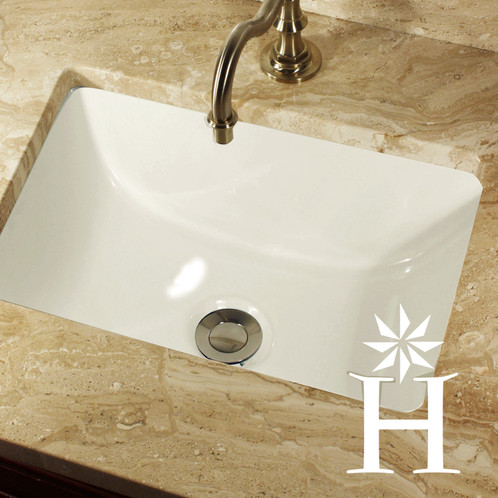 16 x 11 inch white rectangle ceramic undermount vanity sink highpoint collection for Replace undermount bathroom sink