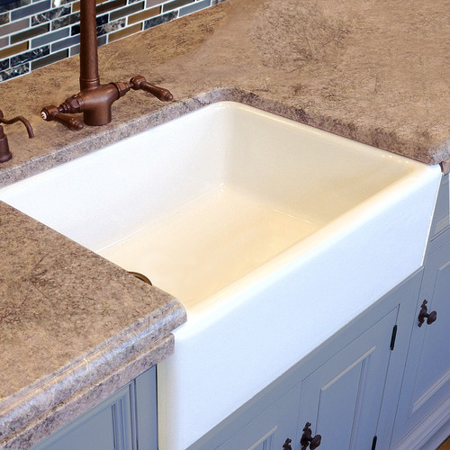 30 Inch White Fireclay Farm Sink With Side Position Drain