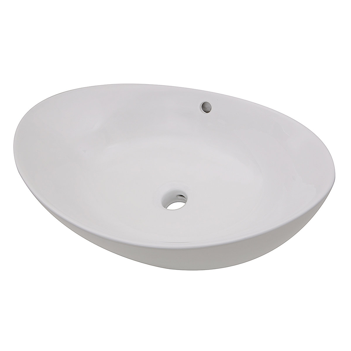 23 Inch Oblong White Ceramic Vessel Sink With Overflow