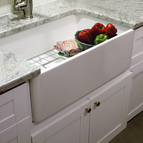 30 Inch Single Bowl Fireclay Farmhouse Sink With Grid And D