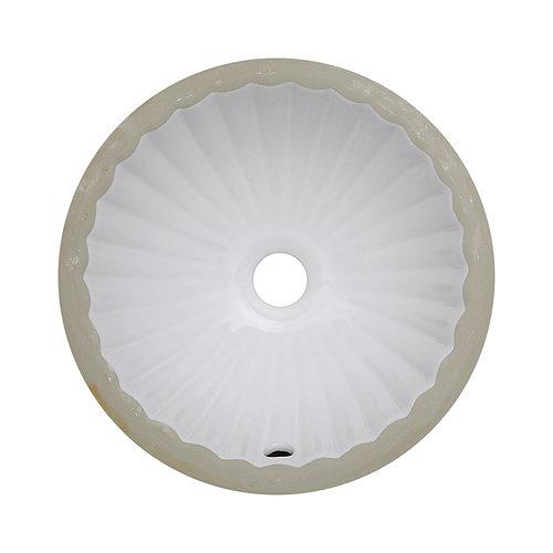 Good 12 Inch Round Scalloped Ceramic Undermount Sink