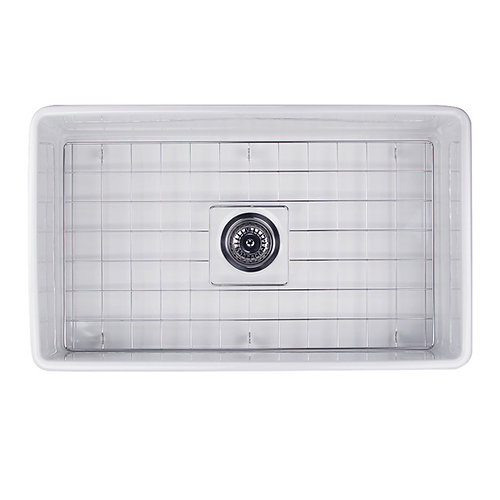 30inch single bowl fireclay farmhouse sink with grid and d