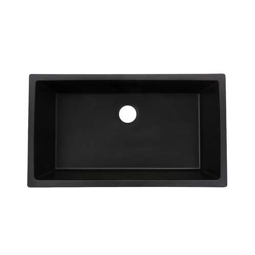 Granite Composite 33-inch Single Bowl Black Undermount Kitchen Sink