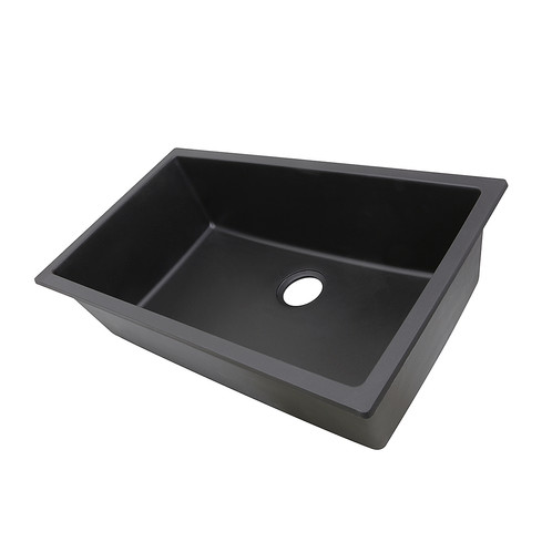 Granite Composite 33-inch Single Bowl Black Undermount Kitchen Sink ...