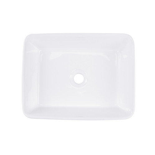 19 Inch Rectangle White Ceramic Vessel Sink Without Overflow