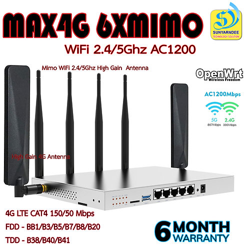 MAX4G iot Router X6 Gigabit LAN WiFi AC1200- 4G  CAT6 2CA 300/50mbps