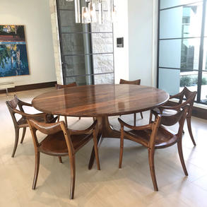 Pedestal Dining Table with Lowback Chairs