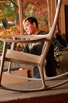Mike sanding on a Rocking Chair