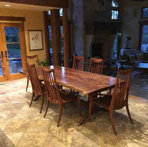 Single Slab Natural Edge Dining Table with Spindle Back Chairs