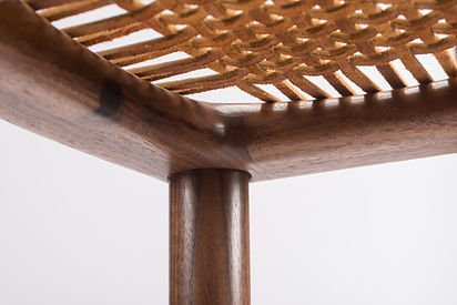 Details of Leather Laced Bar Stool in Walnut