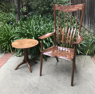 Walnut Occasional Chair & Pedestal Table