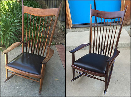 Maloof Repaired Rocker Before and After.