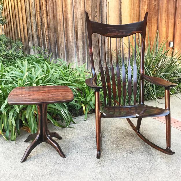 Brazilian Rosewood Rocking Chair & Pedestal Table