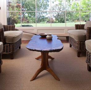 Burl Top Trestle Coffee Table